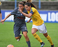 20190813 - DENDERLEEUW, BELGIUM : PAOK's Maria Mitkou pictured in a fight for the ball with LSK's Ingrid Moe Wold during the female soccer game between the Greek PAOK Thessaloniki Ladies FC and the Norwegian LSK Kvinner Fotballklubb Ladies , the third and final game for both teams in the Uefa Womens Champions League Qualifying round in group 8 , Tuesday 13 th August 2019 at the Van Roy Stadium in Denderleeuw  , Belgium  .  PHOTO SPORTPIX.BE for NTB | DAVID CATRY
