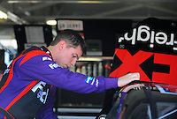 Sept. 26, 2008; Kansas City, KS, USA; Nascar Sprint Cup Series driver Denny Hamlin during practice for the Camping World RV 400 at Kansas Speedway. Mandatory Credit: Mark J. Rebilas-
