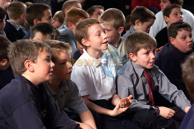Pupils from Ardee Boys Monastery School during Auntie Litter Bugs visit to the school..Picture: Paul Mohan/Newsfile