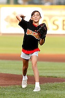 Rochester Red Wings young fan throws out the ceremonial first pitch before a game against the Lehigh Valley IronPigs at Frontier Field on August 18, 2011 in Rochester, New York.  Lehigh Valley defeated Rochester 11-1.  (Mike Janes/Four Seam Images)