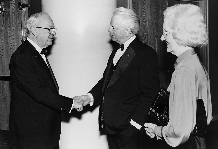 "Sen. Russell B. Long, D-La., Sen. Robert Carlyle ""Bob"" Byrd, D-W.Va. and Miss Erma James shaking hands. (Photo by CQ Roll Call)"