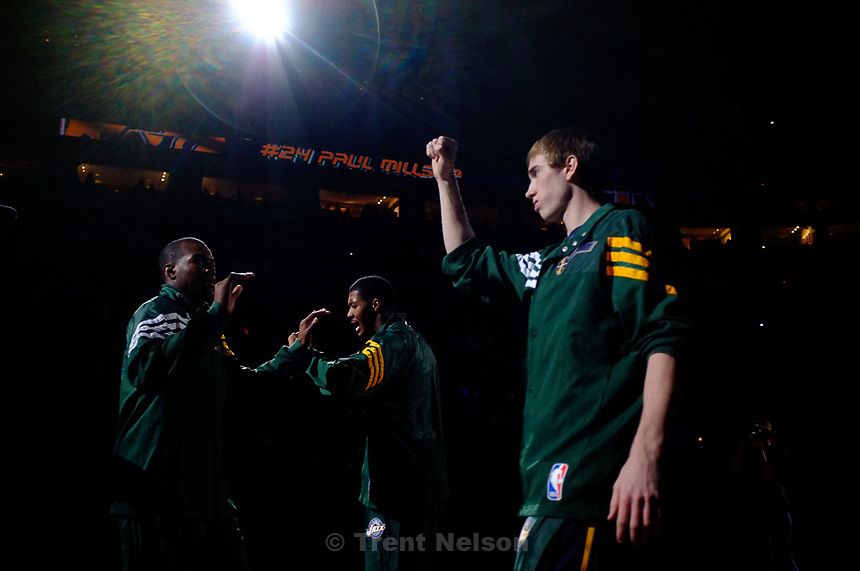 Trent Nelson  |  The Salt Lake Tribune.Utah Jazz vs. Washington Wizards, NBA basketball at EnergySolutions Arena Friday, February 17, 2012 in Salt Lake City, Utah. Utah Jazz forward Gordon Hayward (20) Utah Jazz forward Paul Millsap (24) Utah Jazz forward Derrick Favors (15)