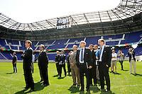 The FIFA inspection deligation watches a video during a tour of Red Bull Arena by the FIFA World Cup Inspection Delegation in Harrison, NJ, on September 07, 2010.