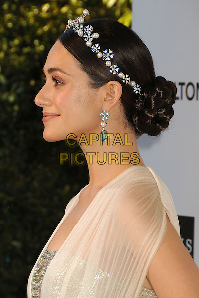 Emmy Rossum.21st Annual Elton John Academy Awards Viewing Party held at West Hollywood Park, West Hollywood, California, USA..February 24th, 2013.oscars headshot portrait white sheer blue pearls earrings hairband silver profile .CAP/ADM/BP.©Byron Purvis/AdMedia/Capital Pictures.
