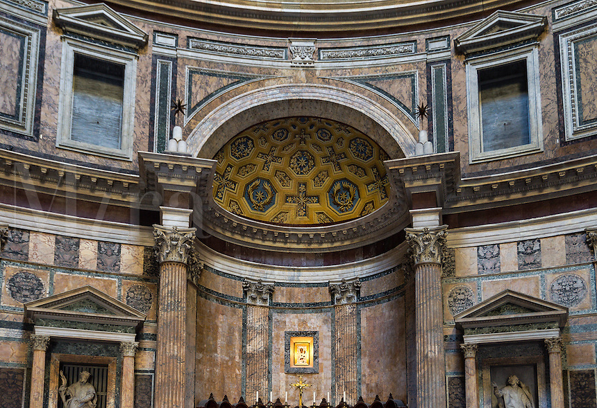 Alter and rounded facade of Santa Maria Rotonda church, formally the the Pantheon temple of ancient Rome, Italy