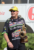 May 11, 2013; Commerce, GA, USA: NHRA pro stock driver Mike Edwards after winning the Southern Nationals at Atlanta Dragway. Mandatory Credit: Mark J. Rebilas-