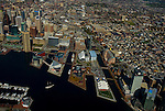 Aerial view of the Baltimore Inner harbor MD