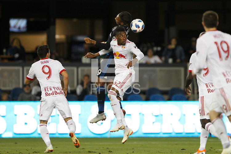 San Jose, CA - Saturday October 06, 2018: Danny Hoesen, Michael Amir Murillo during a Major League Soccer (MLS) match between the San Jose Earthquakes and the New York Red Bulls at Avaya Stadium.
