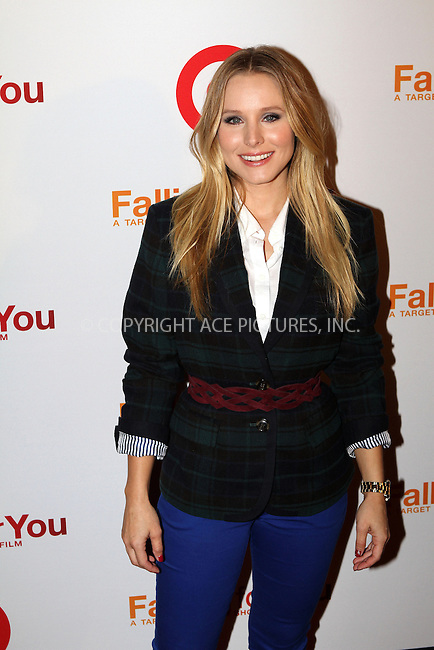 WWW.ACEPIXS.COM......October 10, 2012, New York City, NY.....Kristen Bell arriving at  the Target 'Falling For You' premiere atTerminal 5 on October 10, 2012 in New York City.......By Line: Nancy Rivera/ACE Pictures....ACE Pictures, Inc..Tel: 646 769 0430..Email: info@acepixs.com