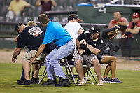 Fans participate in a game of musical chairs between innings of the South Atlantic League game between the Hagerstown Suns and the Kannapolis Intimidators at Kannapolis Intimidators Stadium on August 27, 2019 in Kannapolis, North Carolina. The Intimidators defeated the Suns 5-4. (Brian Westerholt/Four Seam Images)