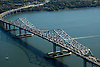 Aerial view of the Tappan Zee Bridge over the Hudson River, New York