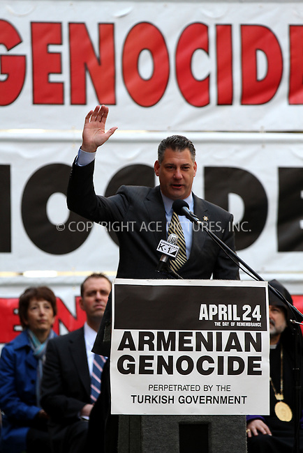 WWW.ACEPIXS.COM......April 21, 2013, New York City, New York.....Middlesex County Sheriff Peter Koutoujian speaking to a group of people in Times Square about the recent bombings in Boston and on the capture of the suspects on April 21, 2013 in New York City.............By Line: Zelig Shaul/ACE Pictures....ACE Pictures, Inc..Tel: 646 769 0430..Email: info@acepixs.com