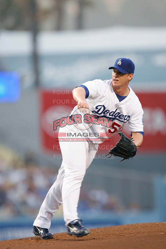 Chad Billingsley of the Los Angeles Dodgers during a 2007 MLB season game at Dodger Stadium in Los Angeles, California. (Larry Goren/Four Seam Images)