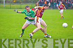 Angeus Carmody of Duagh contests with Mikey Boyle of Ballyduff last Saturday in Duagh.