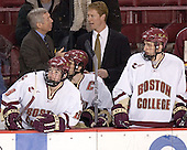 Brett Motherwell, Jerry York, Peter Harrold, Greg Brown, Tim Kunes - The Boston College Eagles and Ferris State Bulldogs tied at 3 in the opening game of the Denver Cup on Friday, December 30, 2005, at Magness Arena in Denver, Colorado.  Boston College won the shootout to determine which team would advance to the Final.