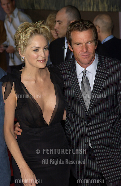 Actress SHARON STONE & actor DENNIS QUAID at the world premiere, in Hollywood, of their new movie Cold Creek Manor..Sept 17, 2003