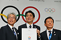 (L to R) <br /> Tsunekazu Takeda, <br />  Shinzo Abe, <br />  Naoki Inose, <br /> SEPTEMBER 7, 2013 : <br /> Photo Session of press conference after their presentation of 2020 Summer Olympic Games bid final presentation during the 125th International Olympic Committee (IOC) session in Buenos Aires Argentina, on Saturday September 7, 2013. <br /> (Photo by YUTAKA/AFLO SPORT) [1040]