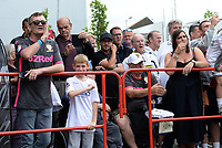 Leeds United fans await the arrival of the team coach <br /> <br /> Photographer Ian Cook/CameraSport<br /> <br /> The EFL Sky Bet Championship - Bristol City v Leeds United - Sunday 4th August 2019 - Ashton Gate Stadium - Bristol<br /> <br /> World Copyright © 2019 CameraSport. All rights reserved. 43 Linden Ave. Countesthorpe. Leicester. England. LE8 5PG - Tel: +44 (0) 116 277 4147 - admin@camerasport.com - www.camerasport.com