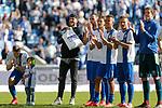 Felix Schiller (Magdeburg, 5) (2.v.l.) Jubel &uuml;ber den Sieg, Jubel nach Spielende beim Spiel in der 3. Liga, 1. FC Magdeburg - Karlsruher SC.<br /> <br /> Foto &copy; PIX-Sportfotos *** Foto ist honorarpflichtig! *** Auf Anfrage in hoeherer Qualitaet/Aufloesung. Belegexemplar erbeten. Veroeffentlichung ausschliesslich fuer journalistisch-publizistische Zwecke. For editorial use only.