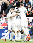 Real Madrid's Daniel Carvajal, Mateo Kovacic and Sergio Ramos celebrate goal during La Liga match. February 13,2016. (ALTERPHOTOS/Acero)