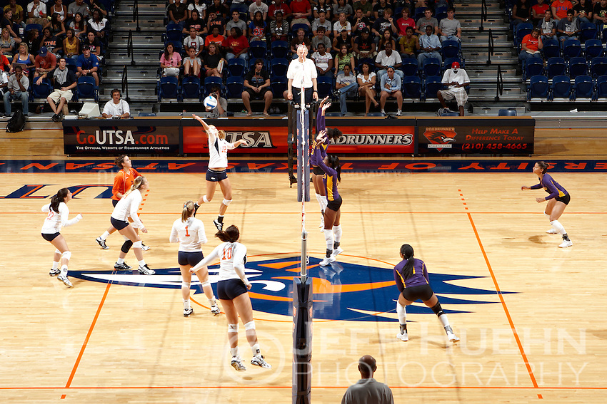 SAN ANTONIO , TX - SEPTEMBER 1, 2009: The Prairie View A&M Panthers vs. The University of Texas At San Antonio Roadrunners Women's Volleyball at the UTSA Convocation Center. (Photo by Jeff Huehn)