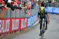 ITALIA - 27-05-2014. Nairo Quintana, ciclista colombiano del equipo Movistar en la etapa 16 Ponte di Legno y Val Martello sobre 139 kilómetros, y se ha apuntado la victoria en la cima de Val Martello en la versión 97 del Giro de Italia / Nairo Quintana, Colombian cyclist Movistar Team in the stage 16 Ponte di Legno and Val Martello about 139 kilometers, and has registered the win on top of Val Martello in version 97 of the Giro d'Italia.  VizzorImage/ Gian Mattia D'Alberto / LaPresse………VizzorImage PROVIDES THE ACCESS TO THIS PHOTOGRAPH ONLY AS A PRESS AND EDITORIAL SERVICE AND NOT IS THE OWNER OF COPYRIGHT; ANOTHER USE HAVE ADDITIONAL PERMITS AND IS  REPONSABILITY OF THE END USER