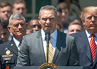 Head coach Jeff Monken makes remarks as United States President Donald J. Trump presents the Commander-in-Chief&rsquo;s Trophy to the U.S. Military Academy football team in the Rose Garden of the White House in Washington, DC on Tuesday, May 1, 2018.  The Commander-in-Chief's trophy is presented to the winner of the annual Army-Navy football game which was played at Lincoln Financial Field in Philadelphia, Pennsylvania on December 9, 2017.  The Army Black Knights beat the Navy Midshipmen 14 - 13.<br /> Credit: Ron Sachs / CNP /MediaPunch
