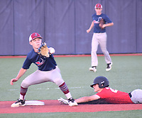 RICK PECK/SPECIAL TO MCDONALD COUNTY PRESS McDonald County's Colton Ruddick steals second base during McDonald County's 5-4 loss to Joplin in the second game of a doubleheader on June 17 at Joplin High School.