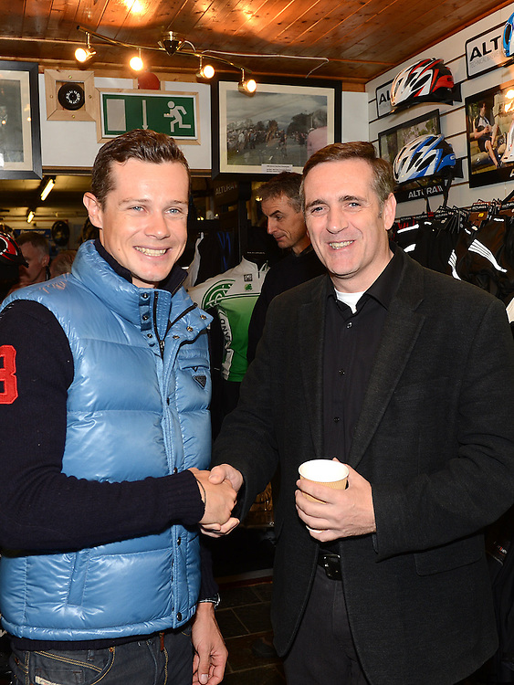Fr Denis McNelis pictured with Fifth overall and a stage winner in the Vuelta a Espana (Tour of Spain) Nicolas Roche when he paid a visit to Quay Cycles Drogheda. Photo:Colin Bell/pressphotos.ie