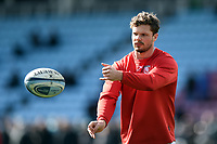 Henry Purdy of Gloucester Rugby passes the ball during the pre-match warm-up. Gallagher Premiership match, between Harlequins and Gloucester Rugby on March 10, 2019 at the Twickenham Stoop in London, England. Photo by: Patrick Khachfe / JMP