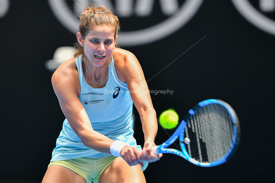 15 January 2018, Melbourne - 12th seed Julia Goerges of Germany in action against Sofia Kenin of the United States on Hisense Arena on day one of the 2018 Australian Open Grand Slam tennis tournament in Melbourne, Australia. Goerges won 64 64 . (Photo Sydney Low / asteriskimages.com)