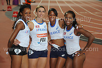 The French Women's 4x100m relay team at the Sainsbury Anniversary Games, Olympic Stadium, London England,Saturday 27th July 2013-Copyright owned by Jeff Thomas Photography-www.jaypics.photoshelter.com-07837 386244. No pictures must be copied or downloaded without the authorisation of the copyright owner.