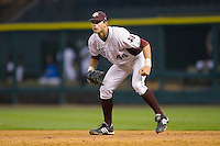 First baseman Luke Anders #44 of the Texas A&M Aggies on defense versus the Houston Cougars in the 2009 Houston College Classic at Minute Maid Park March 1, 2009 in Houston, TX.  The Aggies defeated the Cougars 5-3. (Photo by Brian Westerholt / Four Seam Images)