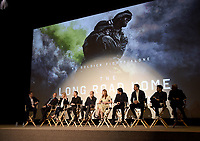 "LOS ANGELES, CA - MARCH 25: (L-R) Moderator Mike Karger, Executive Producer Mike Medavoy, writer Martha Raddatz, Executive Producer Mikko Alanne, Michael Kelly, Kate Bosworth, Jason Ritter, Jeremy Sisto, E.J. Bonilla, and Production Designer Seth Reed attend the screening and panel discussion for National Geographic's ""The Long Road Home"" at the Harmony Gold Theater on March 25, 2018 in Los Angeles, California. (Photo by Frank Micelotta/NatGeo/PictureGroup)"
