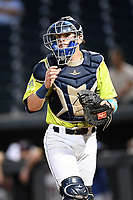 Catcher Hayden Senger (15) of the Columbia Fireflies in a game against the Hickory Crawdads on Wednesday, August 28, 2019, at Segra Park in Columbia, South Carolina. Hickory won, 7-0. (Tom Priddy/Four Seam Images)