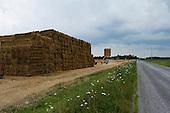 Homerville and Sullivan, Ohio.July 22, 2011..Stacking hay on a farm between Homerville and Sullivan.