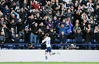 Preston North End's Tom Barkhuizen celebrates scoring his side's third goal <br /> <br /> Photographer Rich Linley/CameraSport<br /> <br /> The EFL Sky Bet Championship - Preston North End v Blackburn Rovers - Saturday 26th October 2019 - Deepdale Stadium - Preston<br /> <br /> World Copyright © 2019 CameraSport. All rights reserved. 43 Linden Ave. Countesthorpe. Leicester. England. LE8 5PG - Tel: +44 (0) 116 277 4147 - admin@camerasport.com - www.camerasport.com