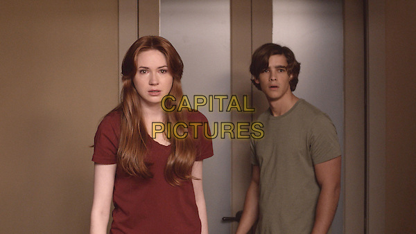 Karen Gillan &amp; Brenton Thwaites<br /> in Oculus (2013) <br /> *Filmstill - Editorial Use Only*<br /> CAP/FB<br /> Image supplied by Capital Pictures