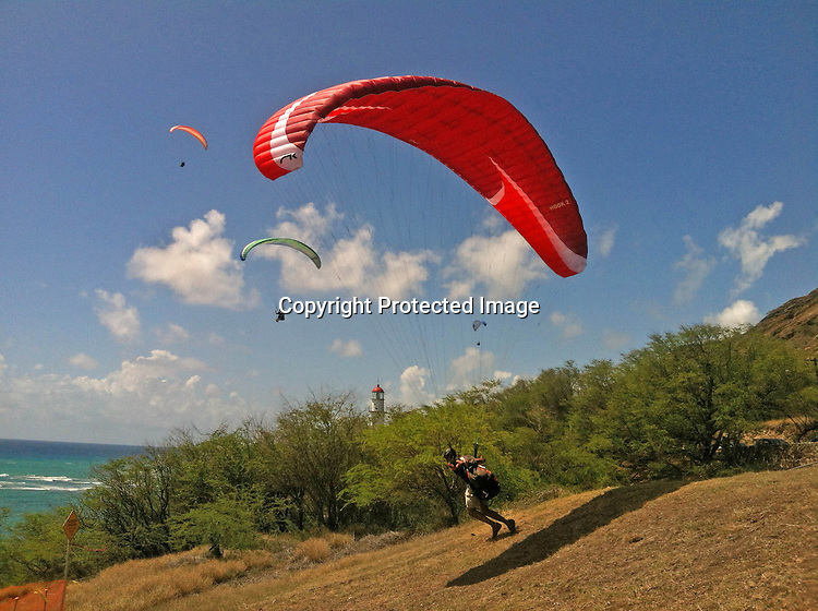 Hang gliders found the perfect wind conditions to launch off the cliffs of Diamond Head mountain in Oahu, Hawaii.