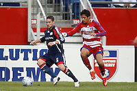 New England Revolution defender Jay Heaps (6) and FC Dallas midfielder Marcelo Saragosa (5). The New England Revolution defeated FC Dallas 2-1 during a Major League Soccer match at Gillette Stadium in Foxborough, MA, on June 6, 2008.