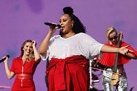 Pictured: Nikki Cislyn of Clean Bandit. Saturday 26 May 2018<br /> Re: BBC Radio 1 Biggest Weekend at Singleton Park in Swansea, Wales, UK.