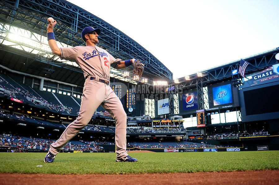 May 11, 2010; Phoenix, AZ, USA; Los Angeles Dodgers third baseman Casey Blake warms up prior to the game against the Arizona Diamondbacks at Chase Field. Mandatory Credit: Mark J. Rebilas-