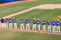 23 August 2007: Team France stand prior to the France 8-4 victory over Czech Republic in the Good Luck Beijing International baseball tournament (olympic test event) at the Wukesong Baseball Field in Beijing, China.