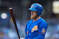 Dalton Kelly (19) of the Durham Bulls at bat against the Charlotte Knights at BB&T BallPark on July 31, 2019 in Charlotte, North Carolina. The Knights defeated the Bulls 9-6. (Brian Westerholt/Four Seam Images)
