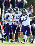 MANKATO, MN - NOVEMBER 1:  xxxxxxx #43 from the University of Sioux Falls celebrates with teammates following a fumble recovery against University of Minnesota Mankato in the third quarter Saturday at Blakeslee Stadium in Mankato. (Photo by Dave Eggen/Inertia)