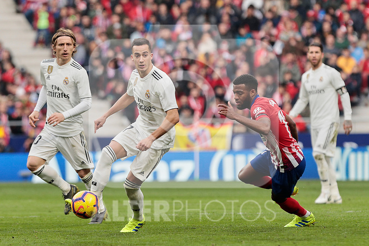 Atletico de Madrid's Thomas Lemar and Real Madrid's Lucas Vazquez during La Liga match between Atletico de Madrid and Real Madrid at Wanda Metropolitano Stadium in Madrid, Spain. February 09, 2019. (ALTERPHOTOS/A. Perez Meca)