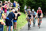 Warren Barguil (FRA) Team Sunweb, Tiesj Benoot (BEL) Lotto-Soudal and Alexis Vuillermoz (FRA) AG2R climb during Stage 9 of the 104th edition of the Tour de France 2017, running 181.5km from Nantua to Chambery, France. 9th July 2017.<br /> Picture: ASO/Alex Broadway | Cyclefile<br /> <br /> <br /> All photos usage must carry mandatory copyright credit (&copy; Cyclefile | ASO/Alex Broadway)