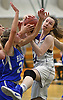 Gillian Kenah #24 of Port Jefferson, right, battles for control of a rebound during NYSPHSAA varsity girls basketball Class C Southeast Regional Final against Haldane at SUNY Old Westbury on Thursday, March 9, 2017. She scored 10 points in the Lady Royals' 43-30 win.
