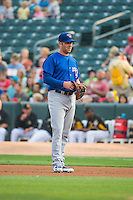 Mike Olt (20) of the Iowa Cubs on defense at first base against the Salt Lake Bees in Pacific Coast League action at Smith's Ballpark on August 21, 2015 in Salt Lake City, Utah.  (Stephen Smith/Four Seam Images)