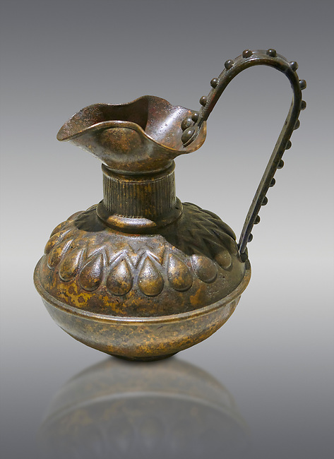 Phrygian bronze trefoil jug with a beated geometric design. From Gordion. Phrygian Collection, 8th century BC - Museum of Anatolian Civilisations Ankara. Turkey.